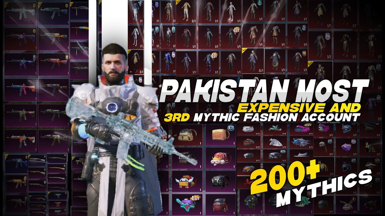 PAKISTAN 3rd Mythic Fashion Account Inventory - Most Expensive Account - PUBG MOBILE