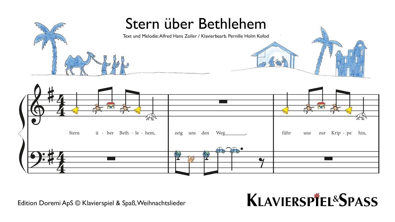 Keyboard Weihnachtslieder Anfänger.Stern über Bethlehem Weihnachtslieder Klavier