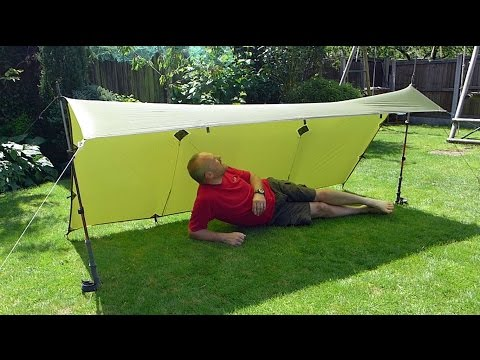 9' x 5' Ultralight Tarp Shelter Set-up : The 'Lean-To' - using 2 trekking poles