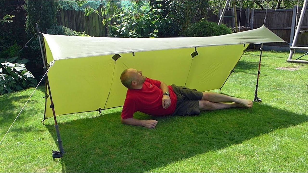 9u0027 x 5u0027 Ultralight Tarp Shelter Set-up  The u0027Lean-Tou0027 - using 2 trekking poles - YouTube : tent tarp setup - memphite.com