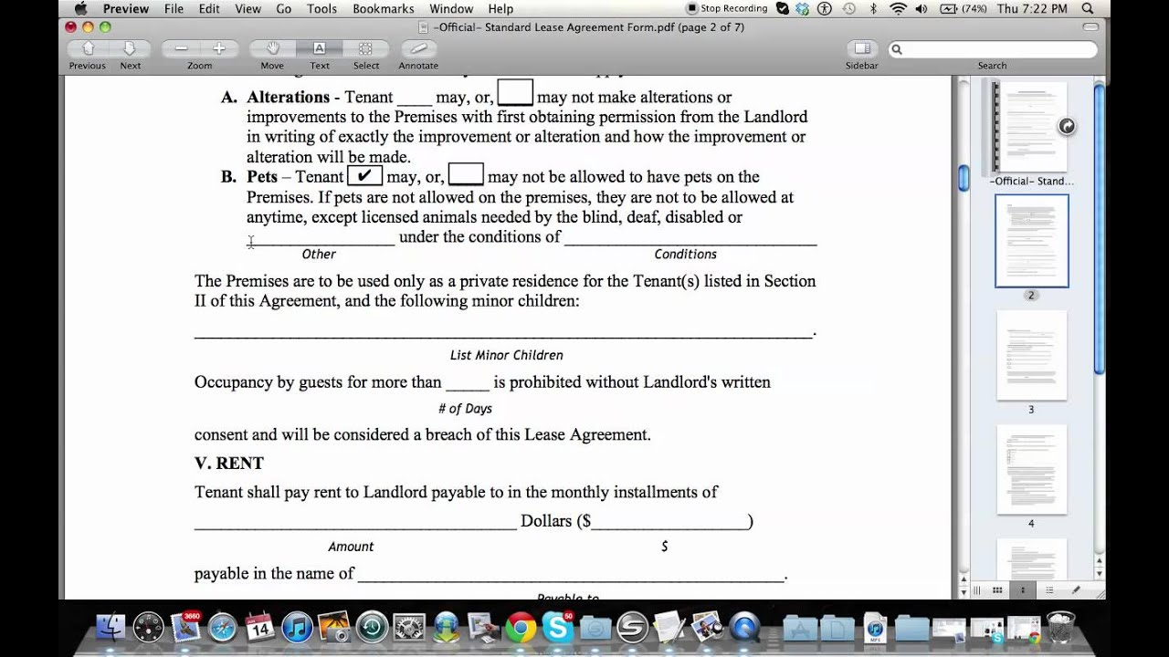How To Fill Out A Residential Lease Agreement YouTube – Rent to Own House Contract