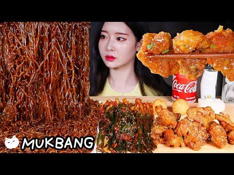 ASMR * Mie Kacang Hitam (Chapagetti) Ayam Goreng Paprika Pedas U0026 Kimchi Bawang Hijau MUKBANG