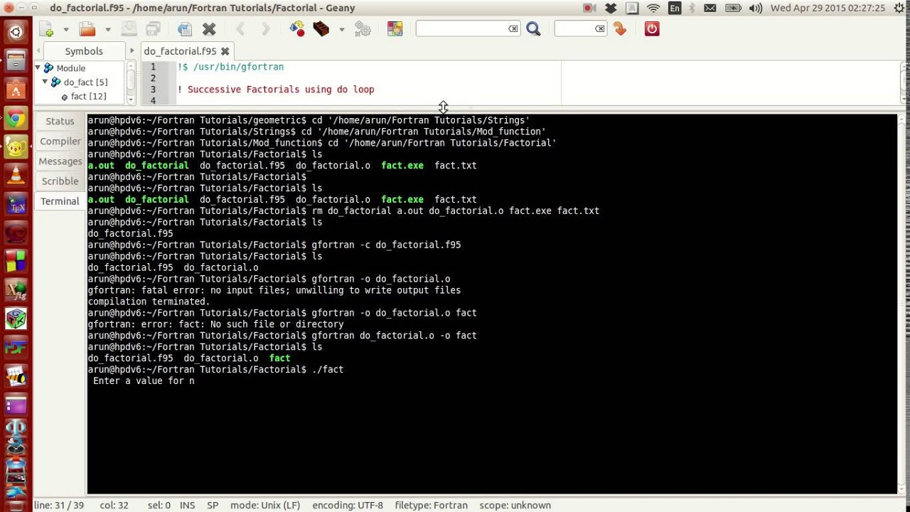 Fortran Programming Tutorials (Revised) : 021 : Executing from terminal and  link for programs