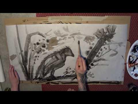 Sumi-e / ink wash painting - Bird