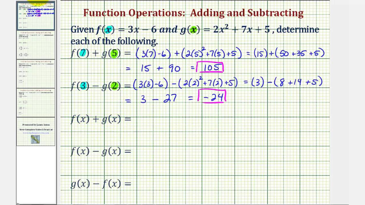 Ex 1: Function Arithmetic - Addition and Subtraction - YouTube