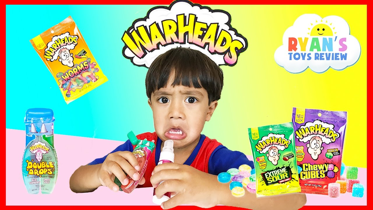 EXTREME WARHEADS CHALLENGE Sour Candy challenge Kids Candy Review Ryan ToysReview