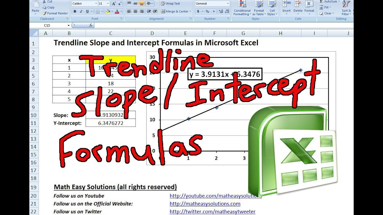 slope intercept form in excel  Trendline Slope and Intercept Formulas in Microsoft Excel