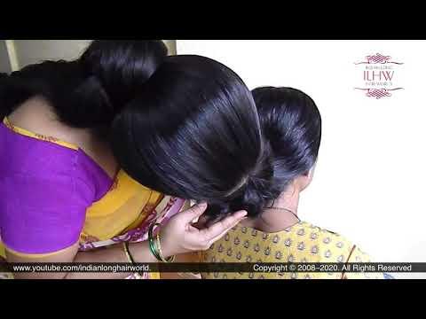 Housewife Shobha's Sensual Hair Bun Smelling & Hair Bun Play With Ganga's Mega Monster Hair Bun.
