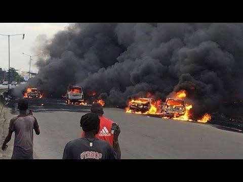 Nigerian oil tanker fire kills nine in commercial capital Lagos