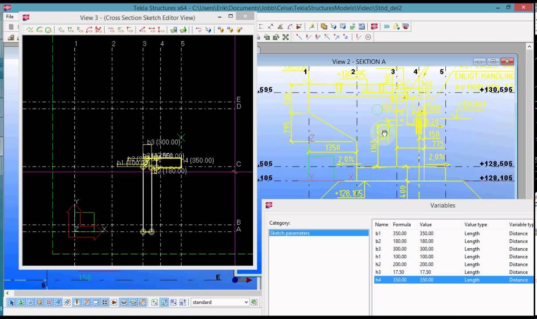 Tekla modeling tutorial - Bridge support, part 2/6