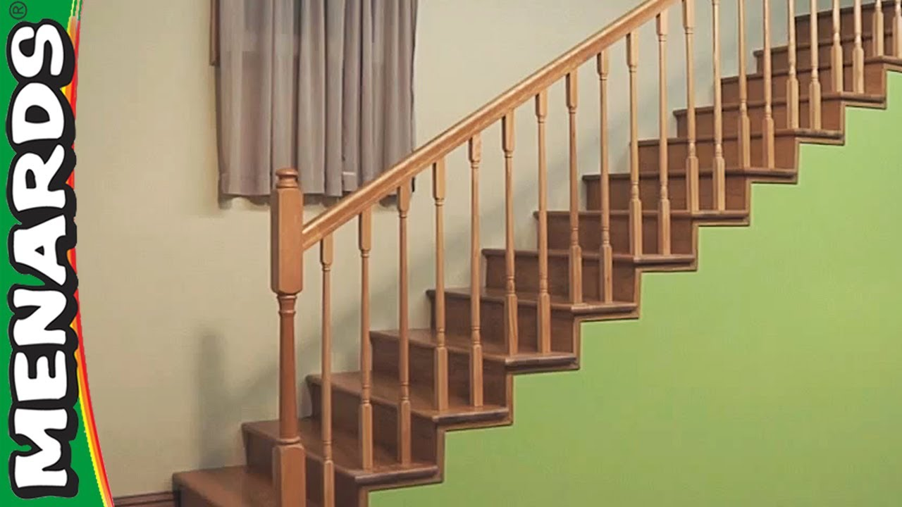 Installing Stair Rails Menards Youtube   New Banister For Stairs   Stainless Steel   Traditional   Oak   Contemporary   Indoor