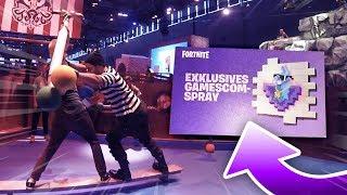 Fortnite gamescom CHALLENGES schaffen & EXKLUSIVES gamescom Spray bekommen thumbnail