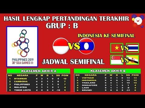 Hasil Sepak Bola Sea Games 2019 Philippines Grup B | INDONESIA VS LAOS, Indonesia Lolos Ke Semifinal