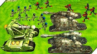 СТИКМЕН ТАНК ИЛОНА МАСКА - Stickman Tank Battle Simulator # 3 Игра как мультик про танки и солдатики
