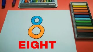 HOW TO DRAW EIGHT 8 STEP BY STEP FOR KIDS l DRAWING EIGHT EASY