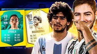 MARADONA 98 E DYBALA 90+ MELHOR QUE MESSI??? FUT DRAFT FIFA 19!
