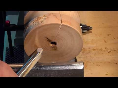 Tournage sur bois -  creusage en bois de bout