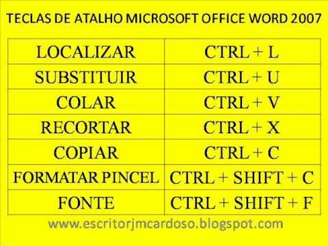 TECLAS ATALHO MICROSOFT OFFICE WORD 2007 INFORMÁTICA ...
