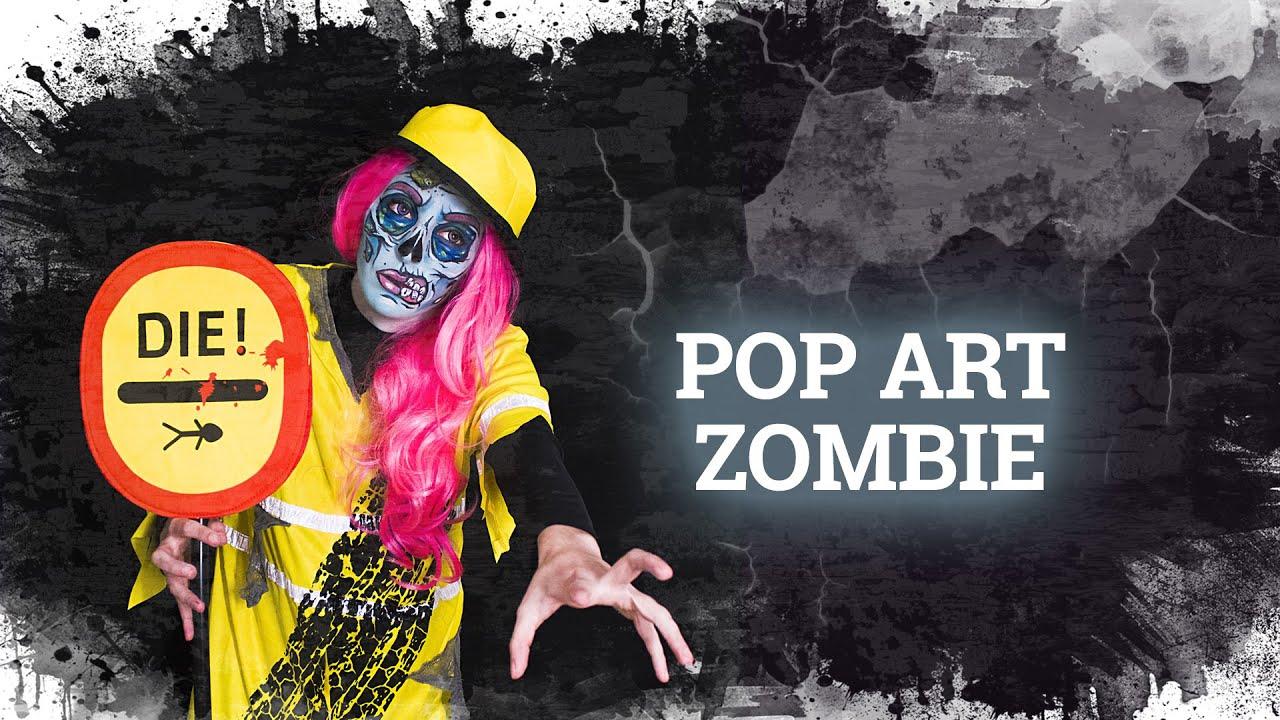 Pop art zombie makeup costume halloween tutorial el maquillaje de zombie m s original youtube for Comcostume halloween homme original