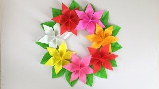 折り紙で作るトロピカルカラーのフラワーリース Origami Tropical color Flower wreath