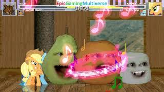 Tedi The Robotic Teddy Bear And Annoying Orange VS Applejack And Rainbow Dash In A MUGEN Match