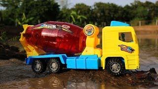 Construction Vehicles Toys With Dinosaurs   Crane Truck, Excavator , Dump truck