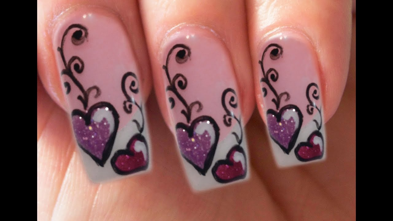 Valentines day special 410 lila gel glitzer herzen nail art step valentines day special 410 lila gel glitzer herzen nail art step by step youtube prinsesfo Images