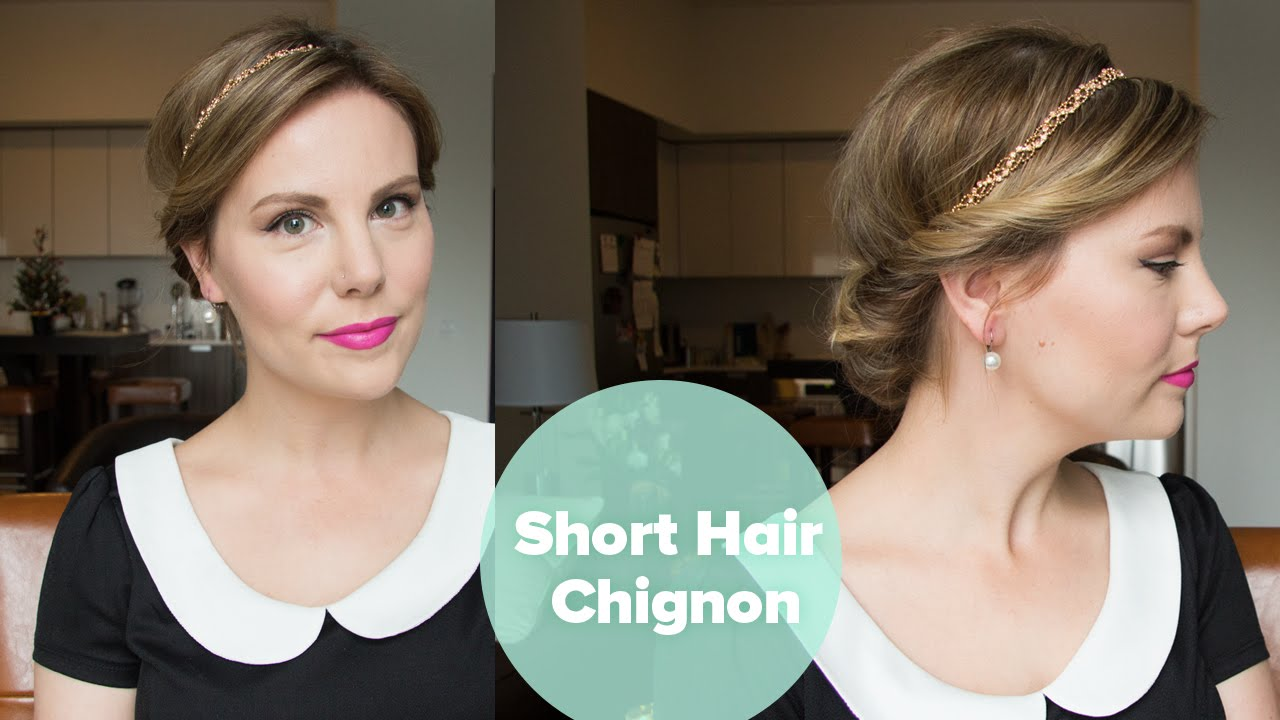 Short Hair Chignon Holiday Updo Youtube