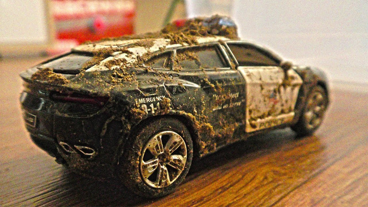 dirty toy cars washed wash police getting
