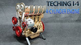Assembling - Teching I4 4-Cylinder Car Engine Model Full Metal