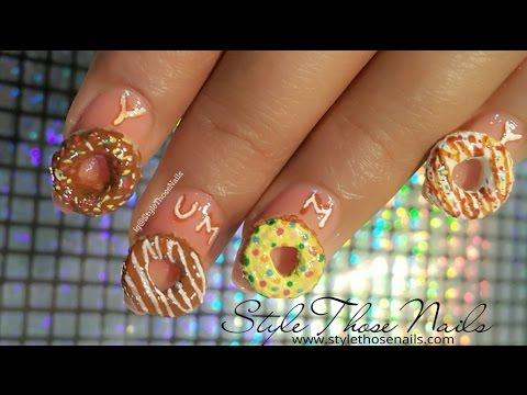 3d Donut Nailart Fun Food Nails Diy Nailart Youtube