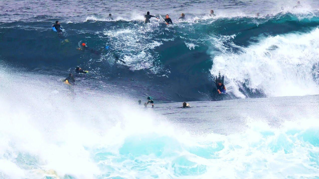 Twenty Bodyboarders and Surfers Wrangle THE BULL