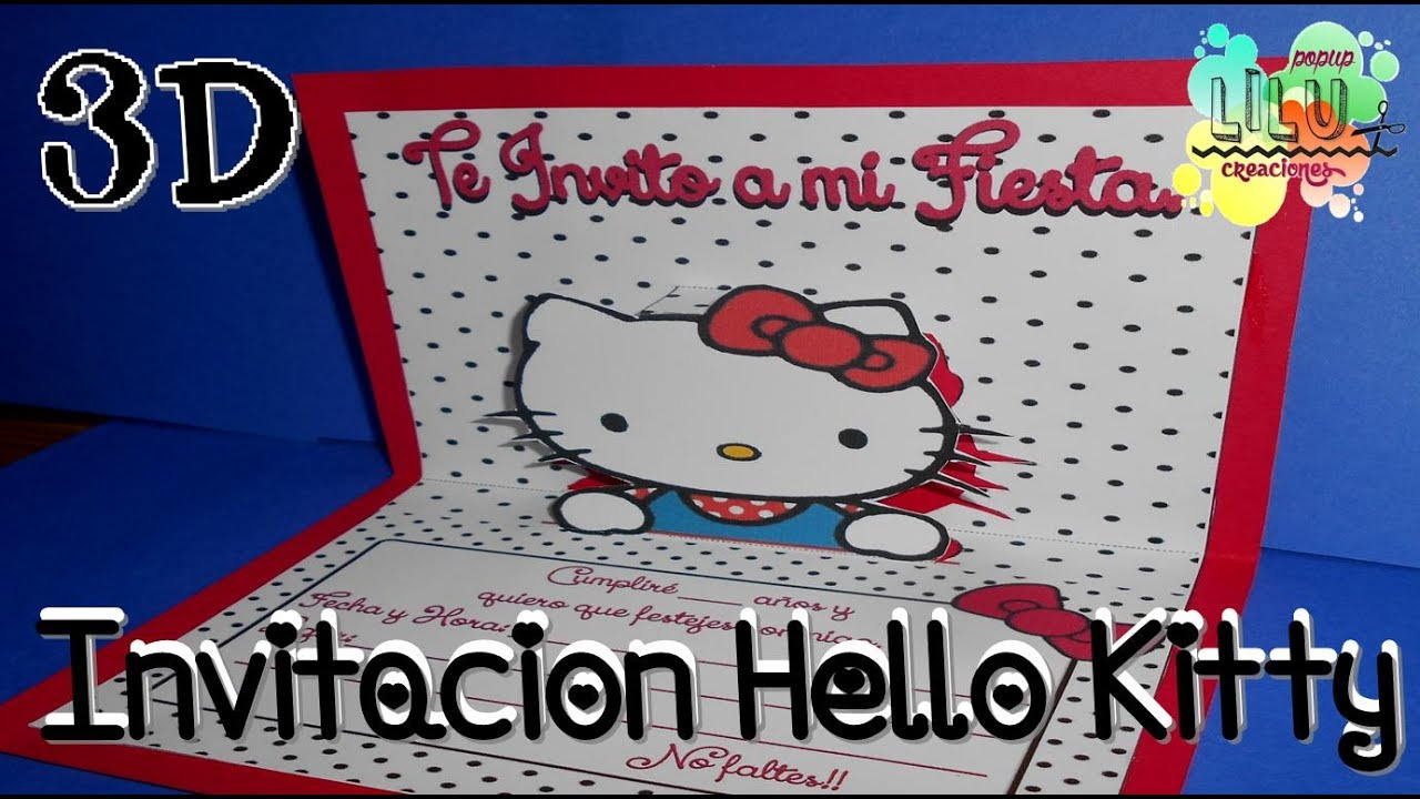 Como Hacer Una Invitación De Hello Kitty 3d