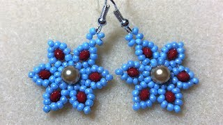 Six Petal Earring - Gold Pearl & Red/Blue Seed Beads
