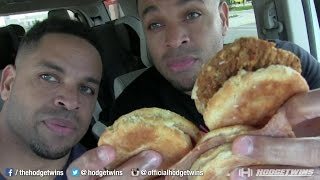 Eating Bojangles Ham & Steak Biscuits @hodgetwins