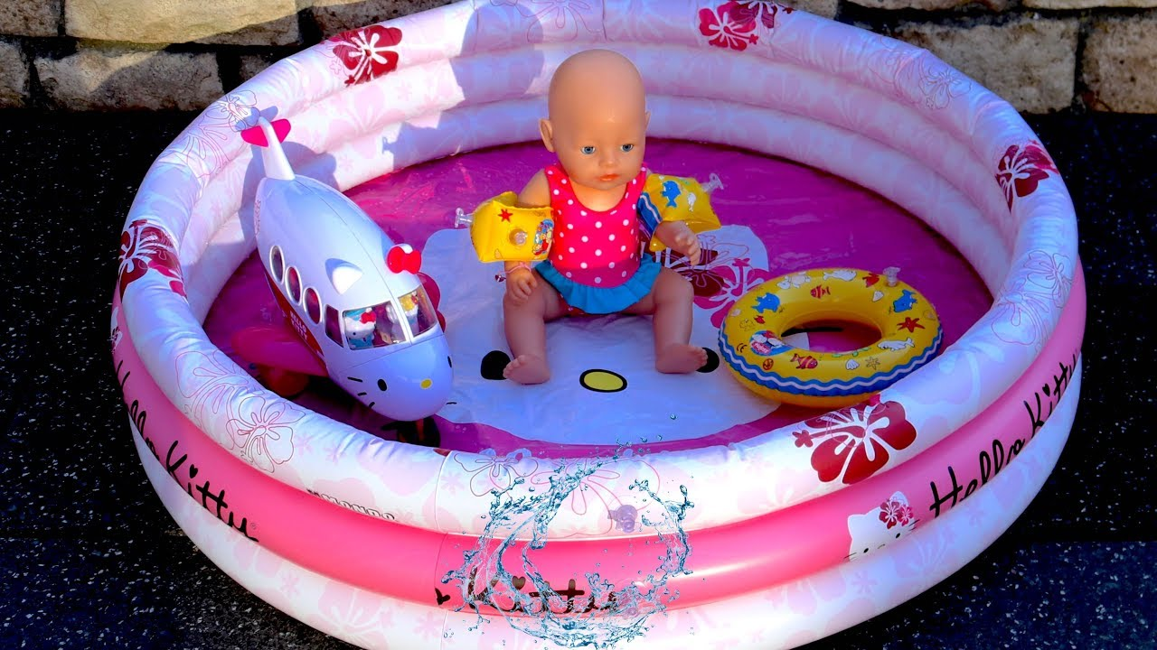 Baby Born Doll Hello Kitty Swimming Pool Airplane And Dolls Swimming Suit Bunk Bed Youtube