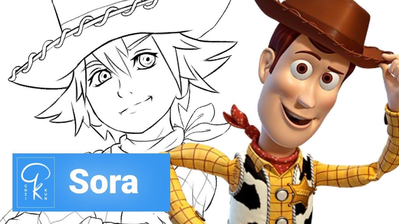 Sora Kingdom Hearts Lineart : Kingdom hearts iii drawing sora with woody outfitt