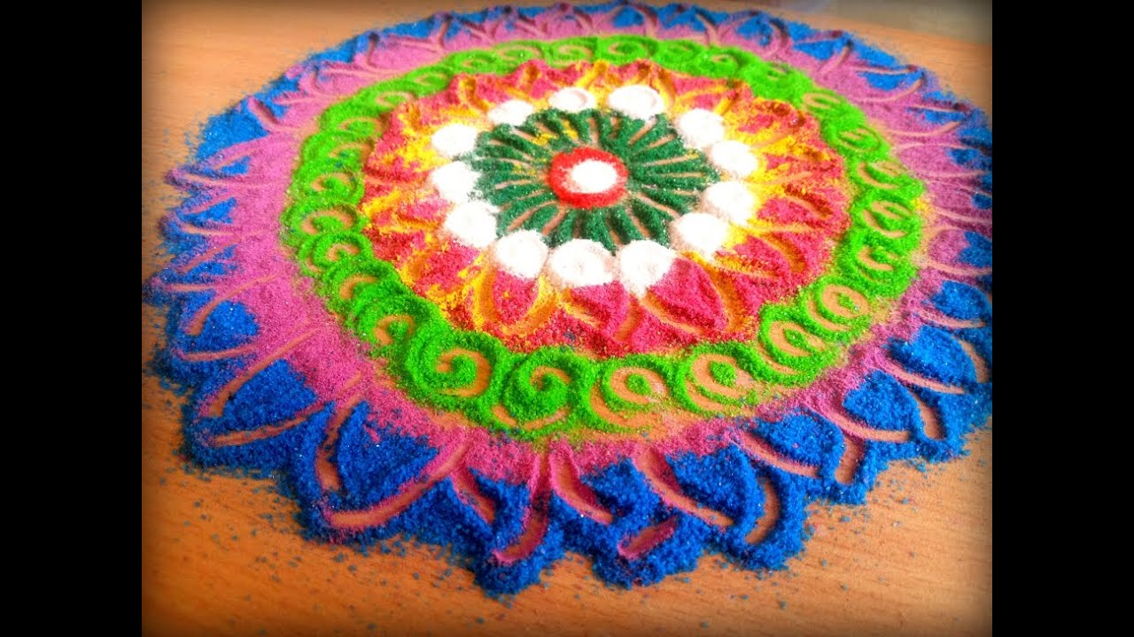 How to make innovative galicha style rangoli diy sanskar for Home made rangoli designs