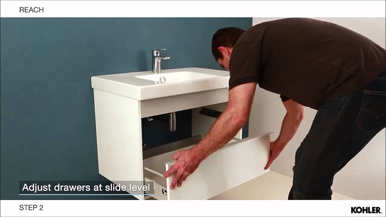 online store b8169 1f88b Reach - Vanity top, cabinet and mirrored cabinet installation