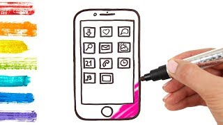 How to Draw Mobile Phone and Apps Coloring for Kids with Smartphone Coloring Pages Art