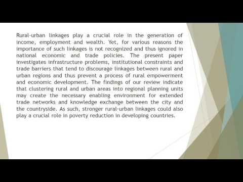 The Potential of Rural–Urban Linkages for Sustainable Development and Trade IJSDWP 42 20 40