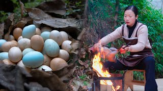 Chinese country girl, cooking with Silky fowl chicken and eggs | wild girl