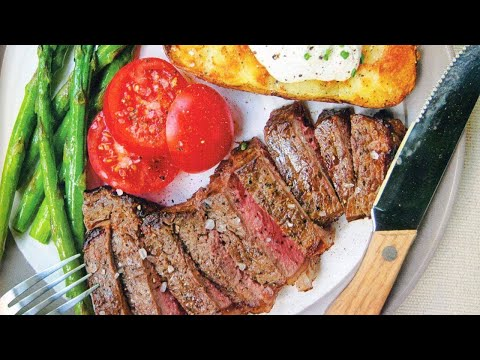 How To Make New York Strip Steak with Baked Potatoes and Asparagus