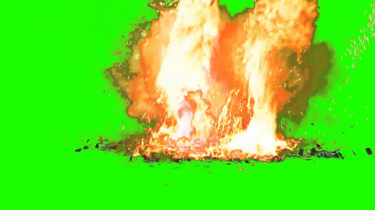 Hand Grenade Fall To The Ground And Explode Green Screen