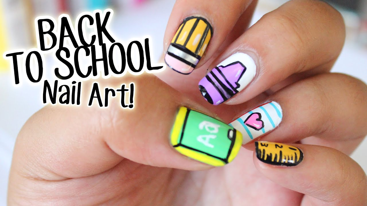 BACK TO SCHOOL Nail Art ♥ 5 Easy Designs Part 1 - YouTube