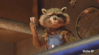 [4K] Amazing Talking Rocket Raccoon Animatronic in Guardians of the Galaxy Ride at Disneyland