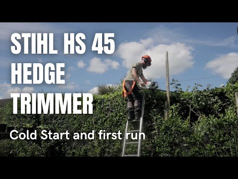 Stihl HS 45 Hedge Trimmer - Cold Start and first run