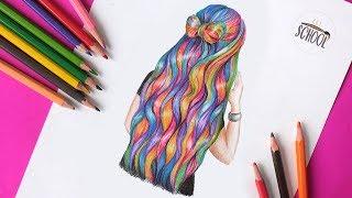 Как нарисовать РАЗНОЦВЕТНЫЕ ВОЛОСЫ \ Рисуем прическу \ How to draw hair   Art School