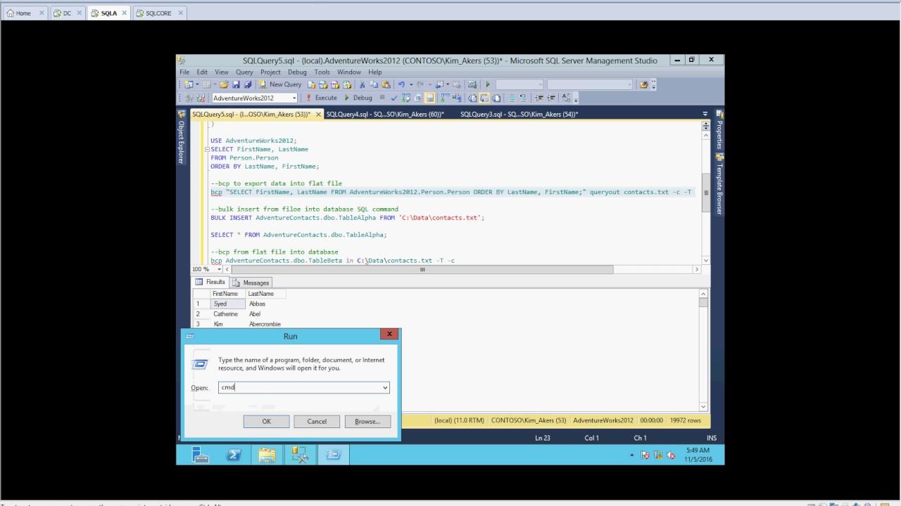 SQL 2012 BCP and BULK INSERT - YouTube