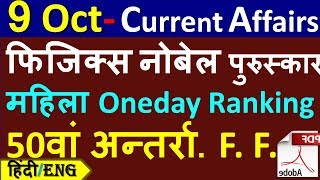 Daily Current Affairs   9 October Current affairs 2019  Current gk -UPSC, Railway, SSC, SBI, IBPS